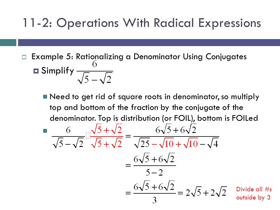 How to Rationalize a Radical Out of a Denominator - dummies