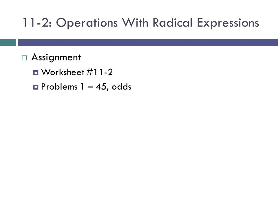 112 Operations with Radical Expressions ppt video online download – Radical Operations Worksheet