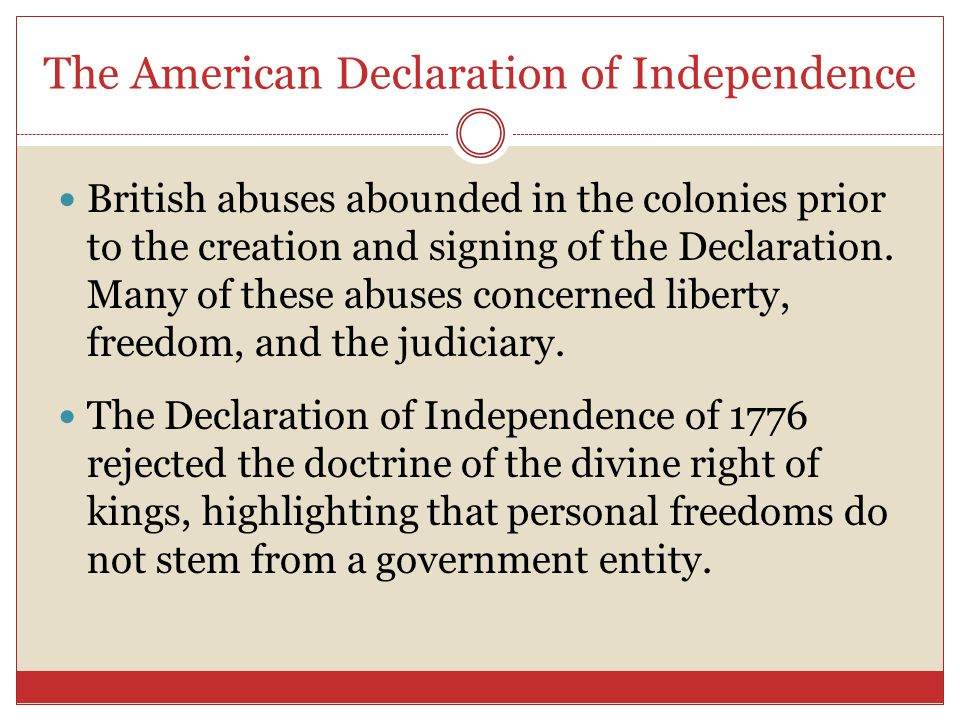 the laws and rules in the declaration of independence Our american declaration of independence is the supreme un-amendable moral law of the united states declarational law preceded and trumps our supreme amendable secular law, the.