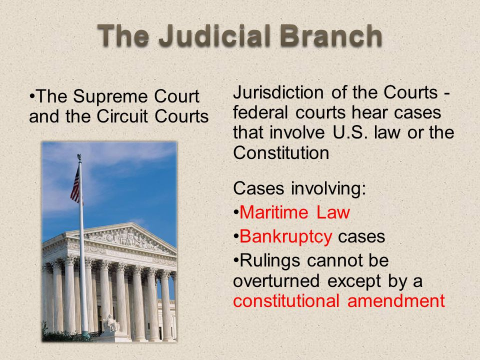 The Judicial Branch Jurisdiction Of The Courts Federal Courts Hear Cases That Involve U S Law