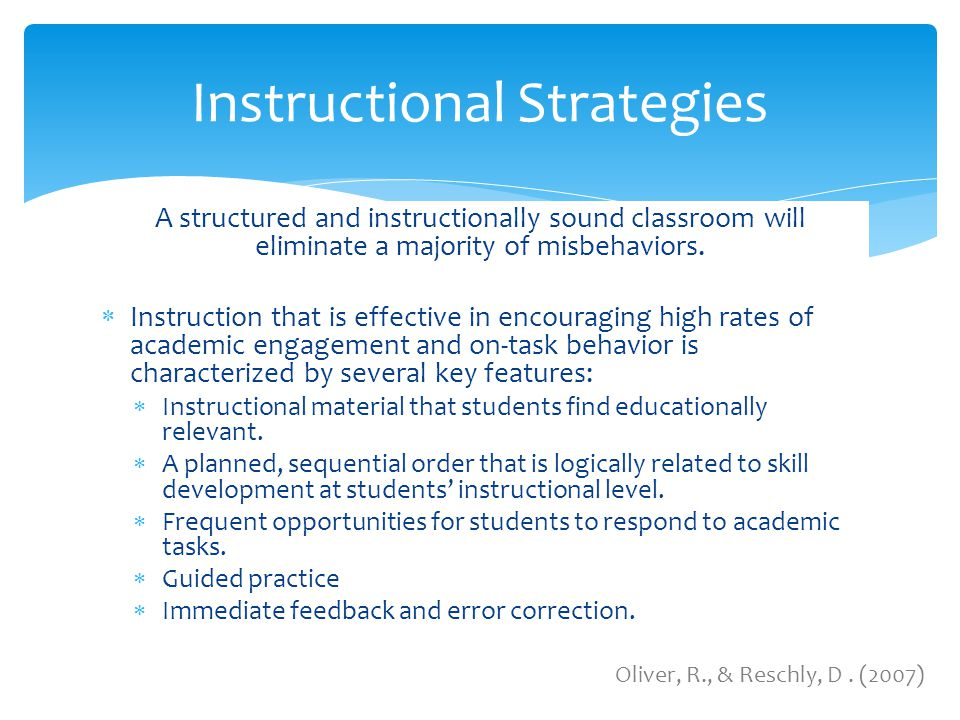 a report on five instructional strategies for classroom management Transition to teaching classroom management successful strategies and practices in classroom curriculum reports, instruction requires a non.