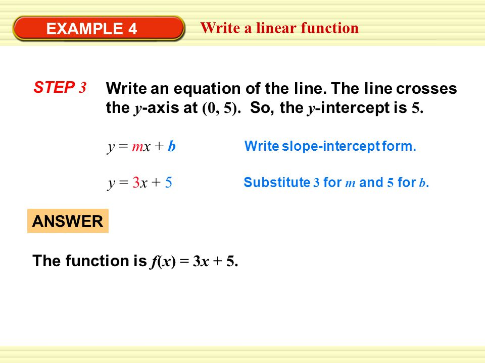Write a linear function