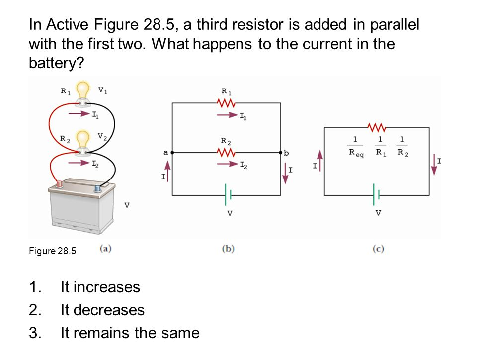 In Active Figure 28.5, a third resistor is added in parallel with the first two. What happens to the current in the battery