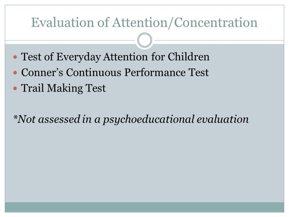 test of everyday attention for children
