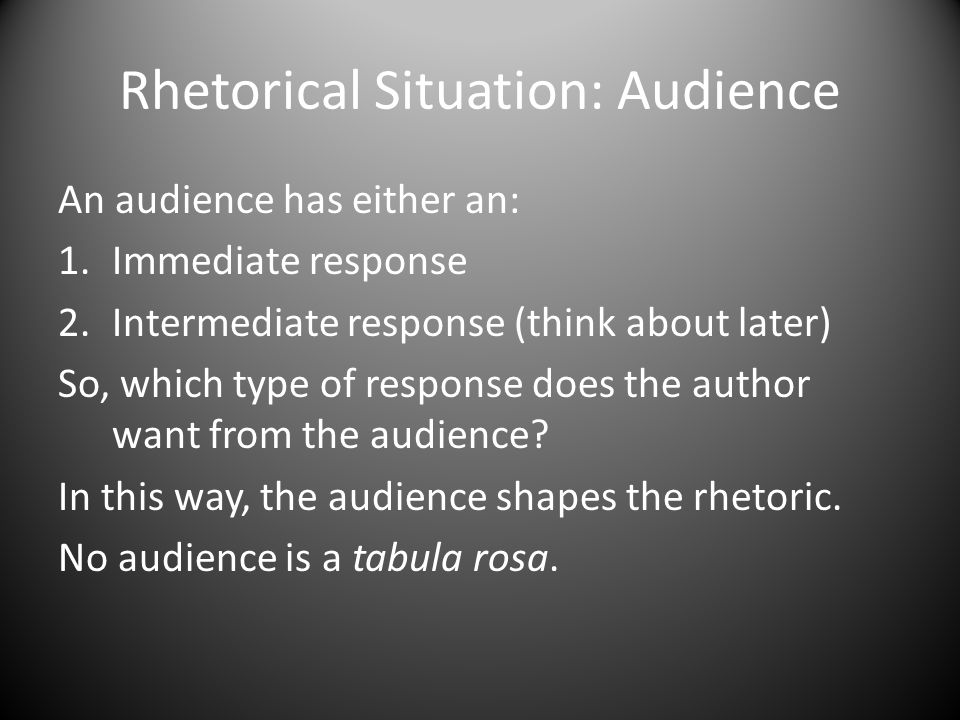 Rhetorical Situation: Audience