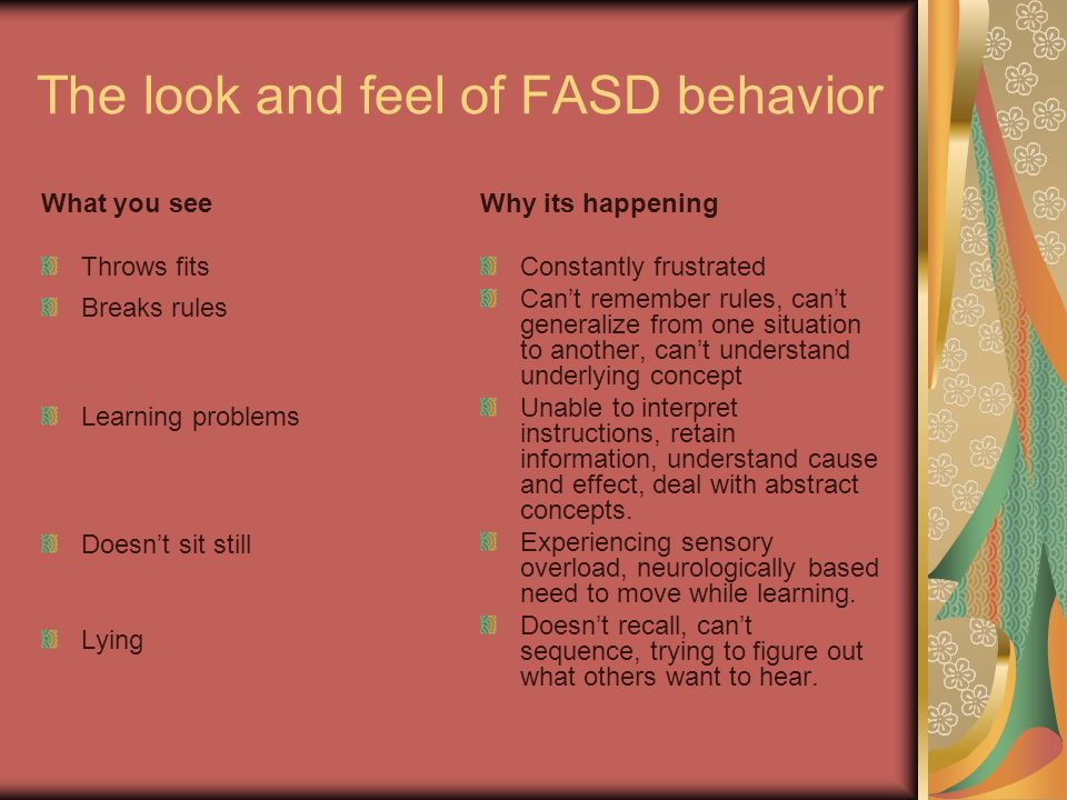 The look and feel of FASD behavior
