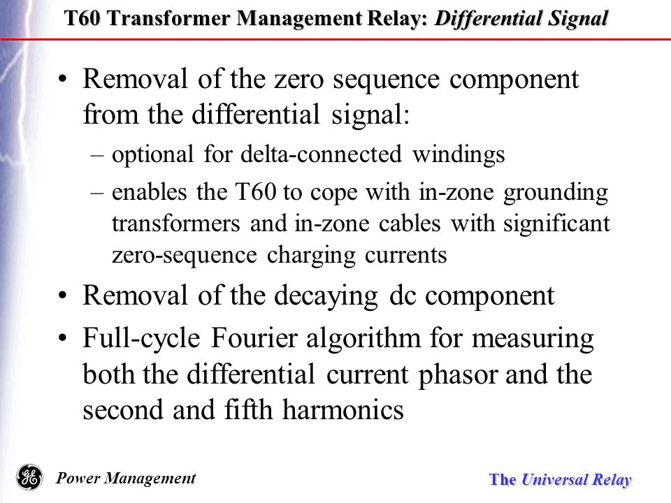 Universal relay family ppt download t60 transformer management relay differential signal publicscrutiny Images