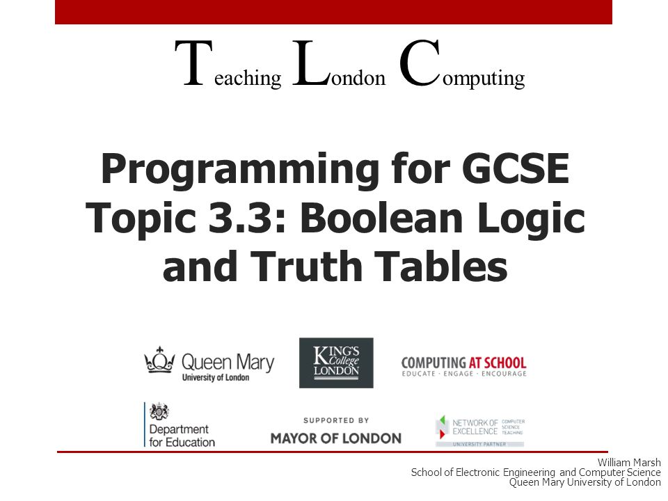 Programming For GCSE Topic Boolean Logic And Truth Tables - Relay switch gcse
