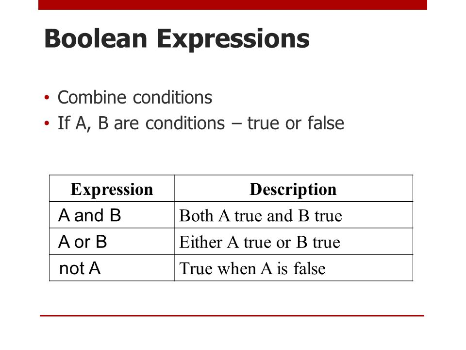 Boolean Expressions Combine conditions