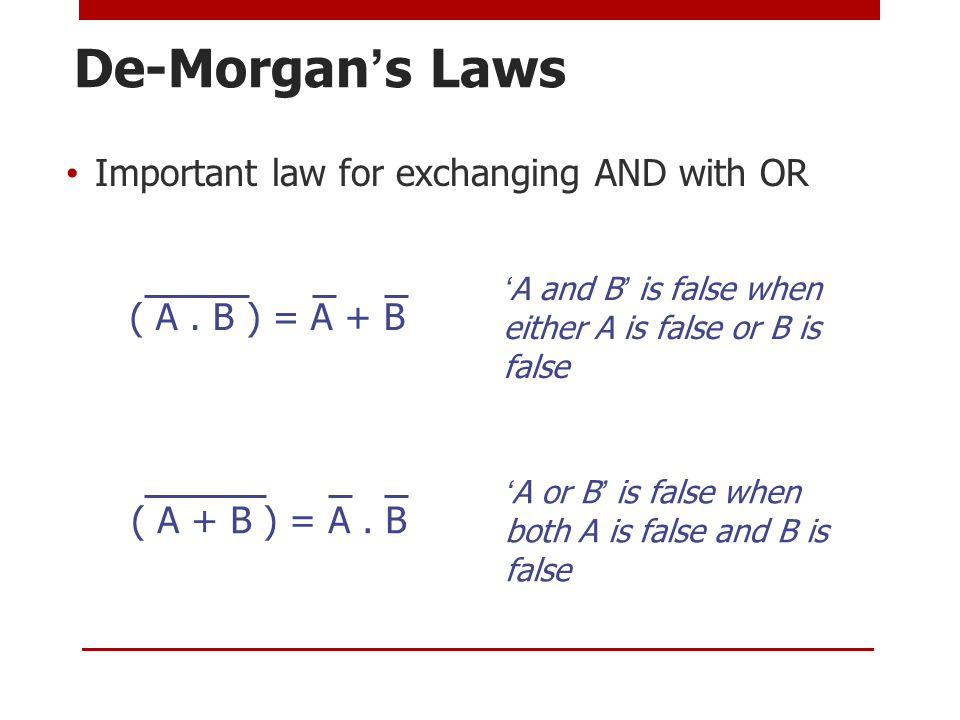 De-Morgan's Laws Important law for exchanging AND with OR