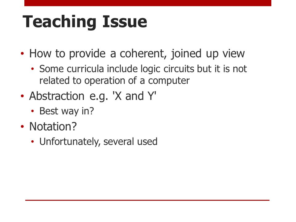 Teaching Issue How to provide a coherent, joined up view