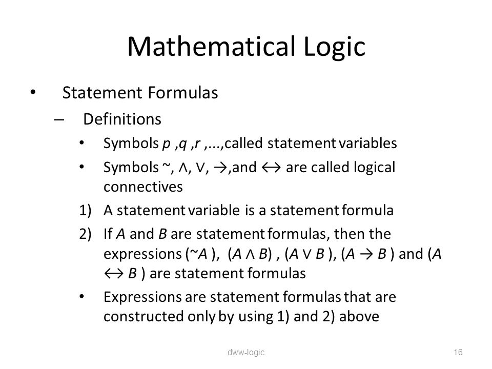 Mathematical Logic Statement Formulas Definitions