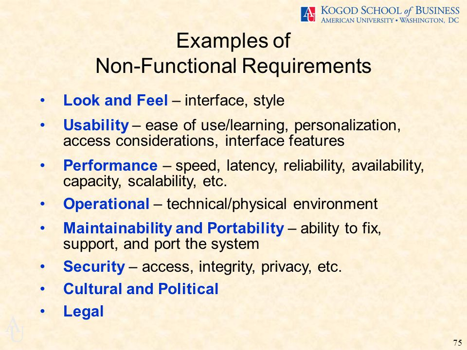 how to write non functional requirements examples