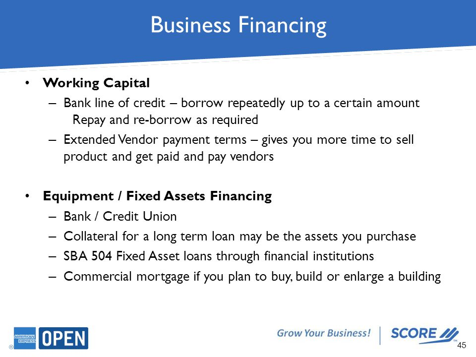 pob sba for sources of fixed and working capital Management of working capital introduction working capital-definition working capital is the cash needed to pay for the day to day operation of the business along with long term investments , business also needs funds for short-term purposes to finance current operations.