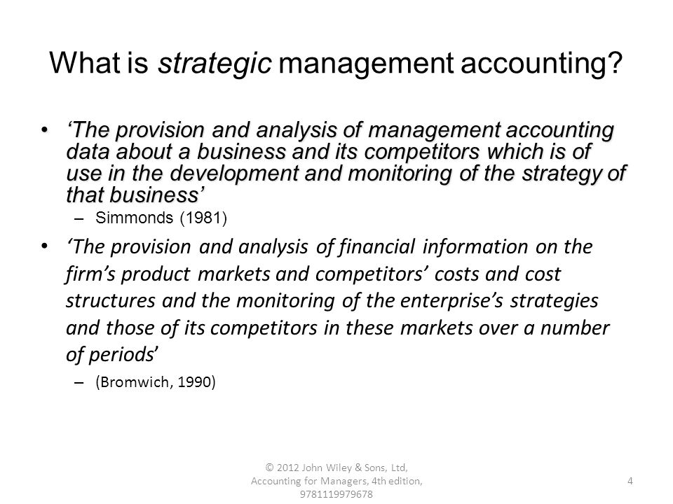 Strategic Management Accounting: Definition and Techniques