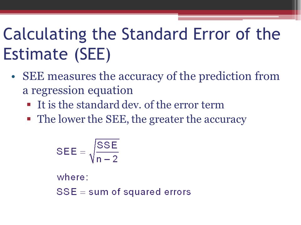 Calculating the Standard Error of the Estimate (SEE)