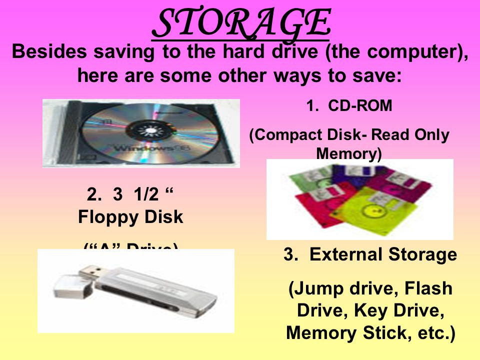 STORAGE Besides saving to the hard drive (the computer), here are some other ways to save: 1. CD-ROM.
