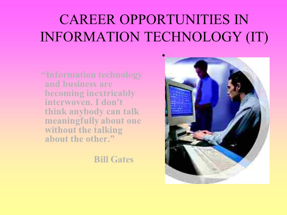 CAREER OPPORTUNITIES IN INFORMATION TECHNOLOGY (IT)