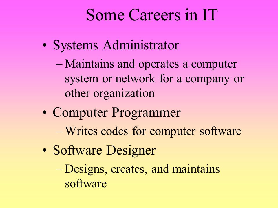 Some Careers in IT Systems Administrator Computer Programmer