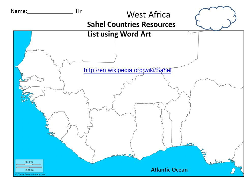 West Africa Sahel Countries Resources List using Word Art