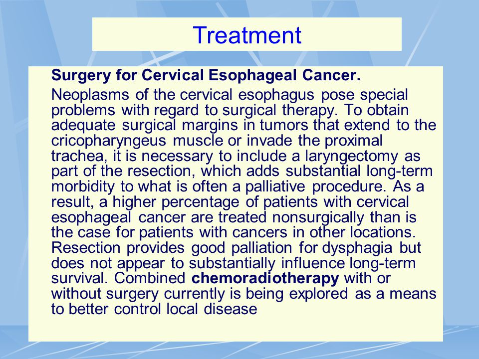 Treatment Surgery for Cervical Esophageal Cancer.