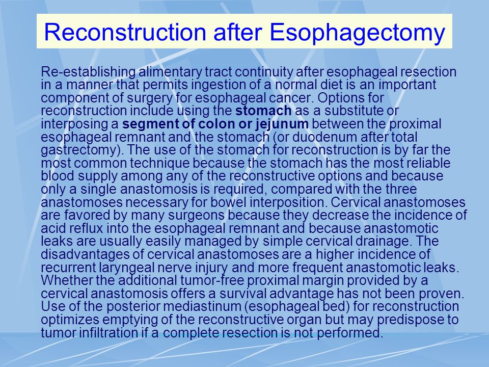 Reconstruction after Esophagectomy