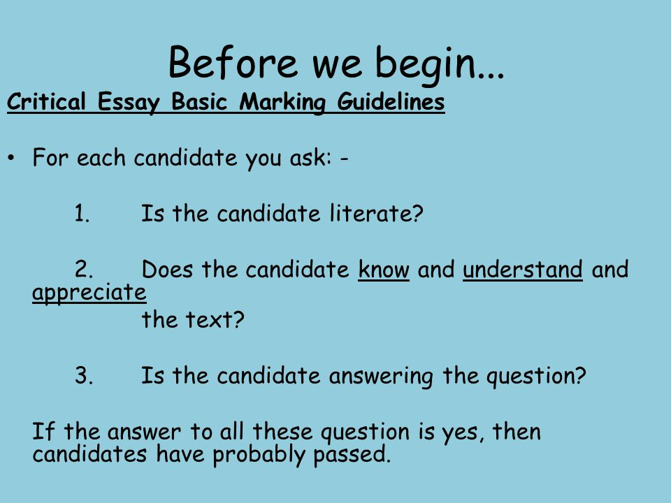 before we begin critical essay basic marking guidelines ppt  critical essay basic marking guidelines