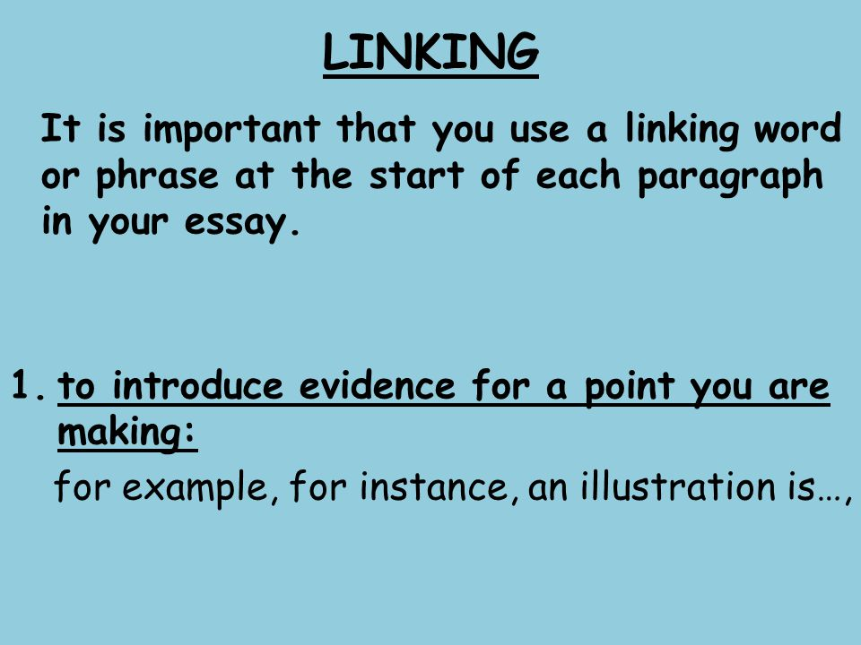 useful linking words in essays