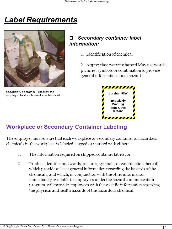 Label Requirements Workplace or Secondary Container Labeling