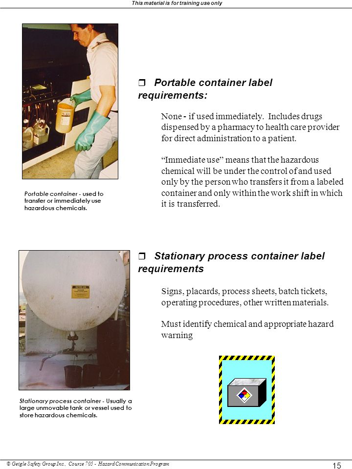 r Portable container label requirements: