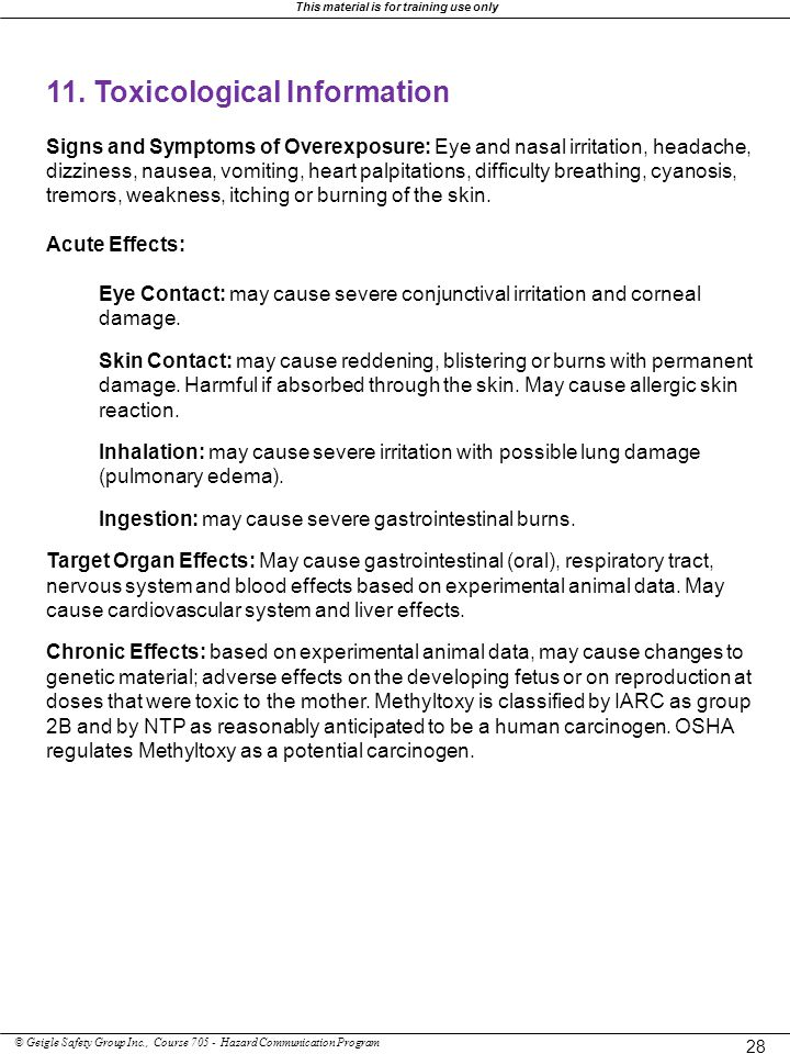 11. Toxicological Information