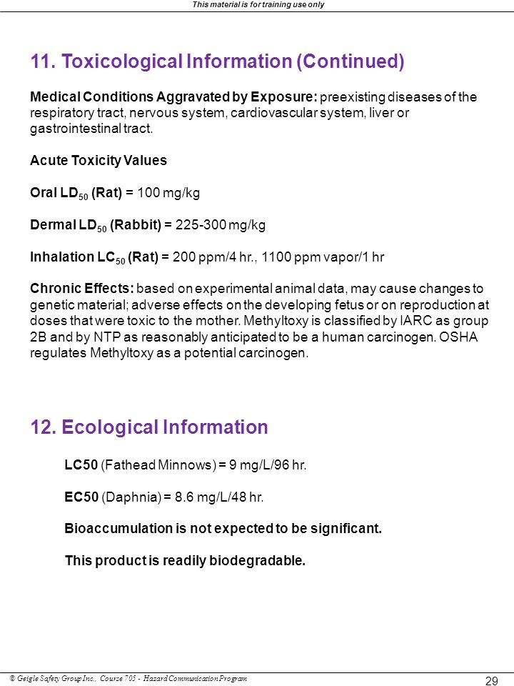 11. Toxicological Information (Continued)