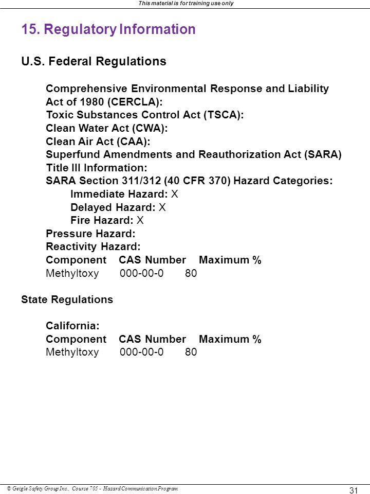 15. Regulatory Information