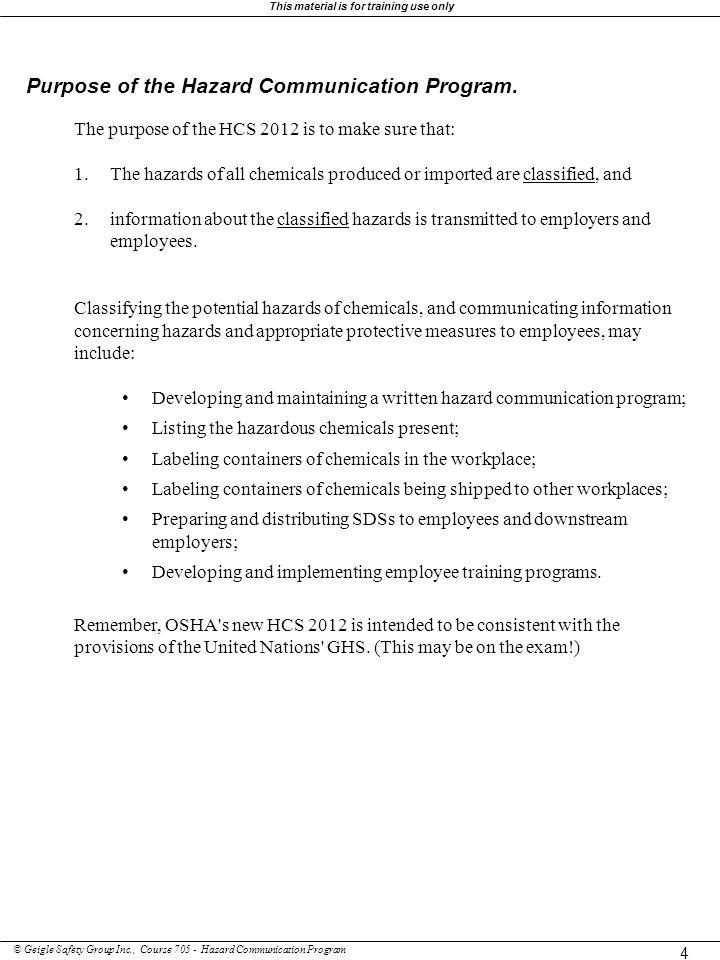 Purpose of the Hazard Communication Program.