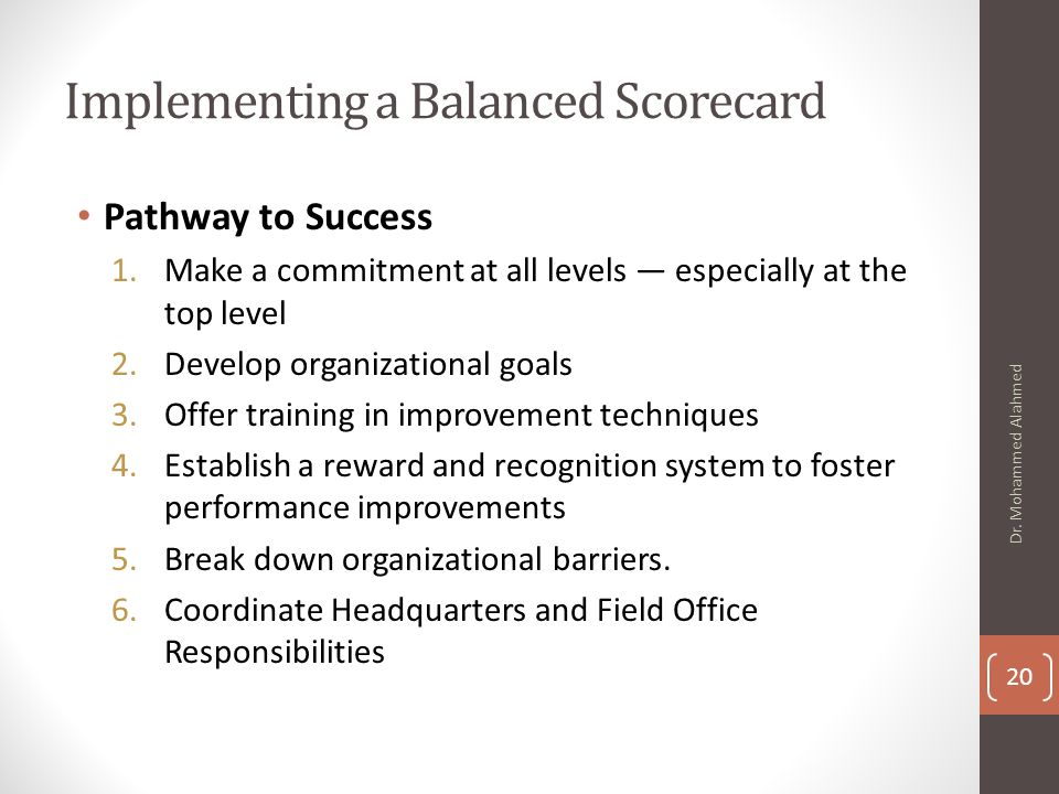 balanced scorecard implementation steps pdf