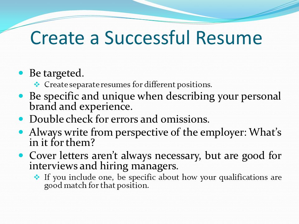 High Quality 6 Create A Successful Resume