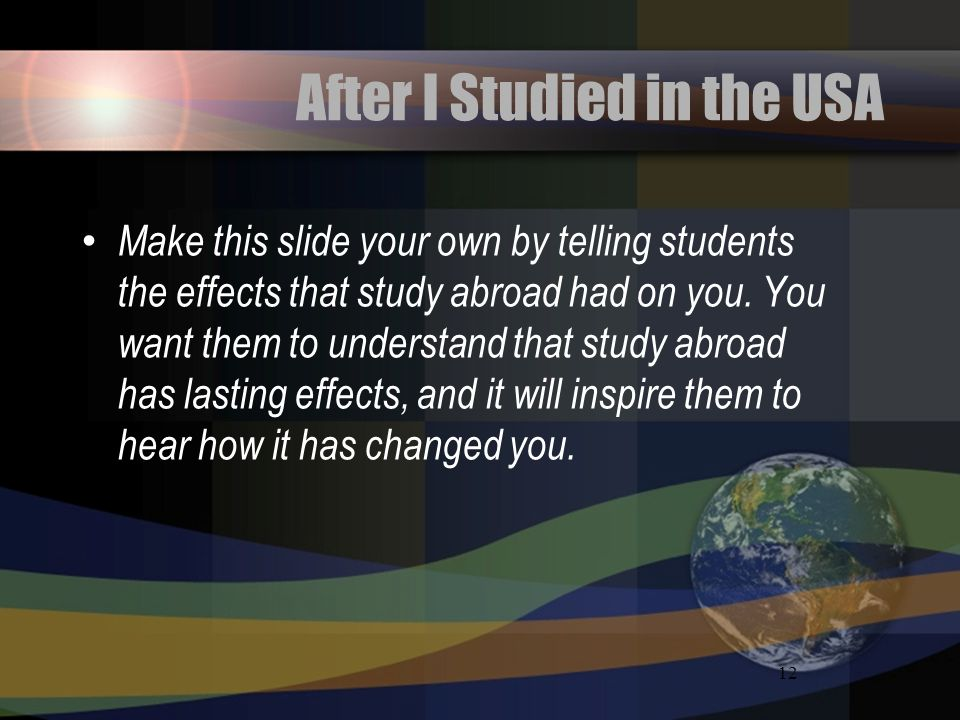 After I Studied in the USA