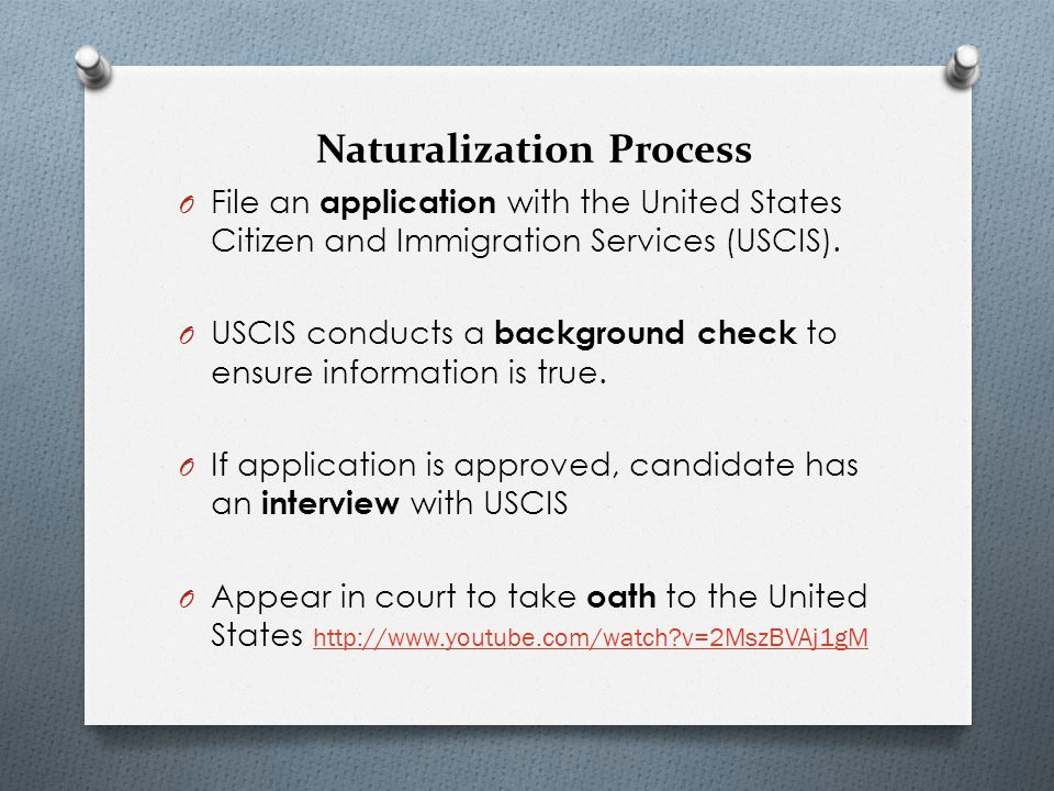process for naturalization Citizenship and naturalization the final step in the naturalization process is the oath of allegiance to the united states the oath demonstrates loyalty to the united states and the constitution.