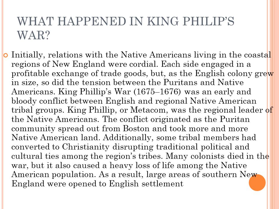 WHAT HAPPENED IN KING PHILIP'S WAR