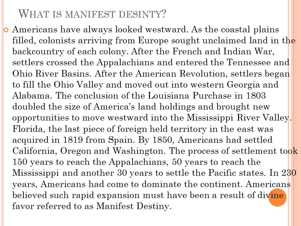 What is manifest desinty