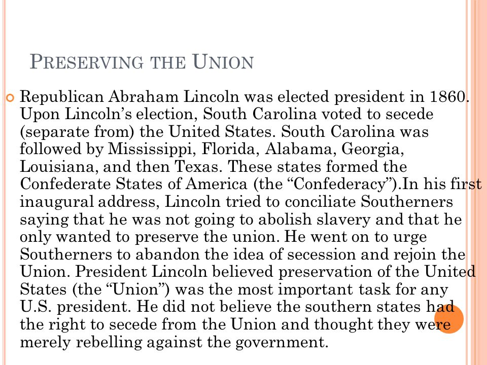 Preserving the Union