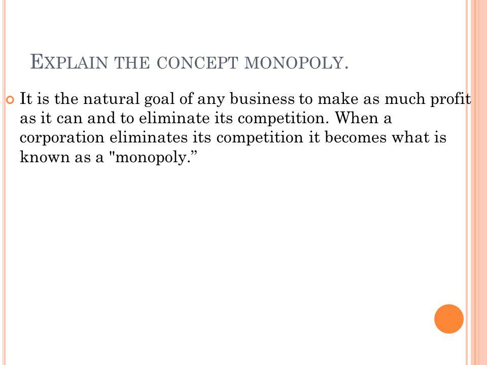 Explain the concept monopoly.