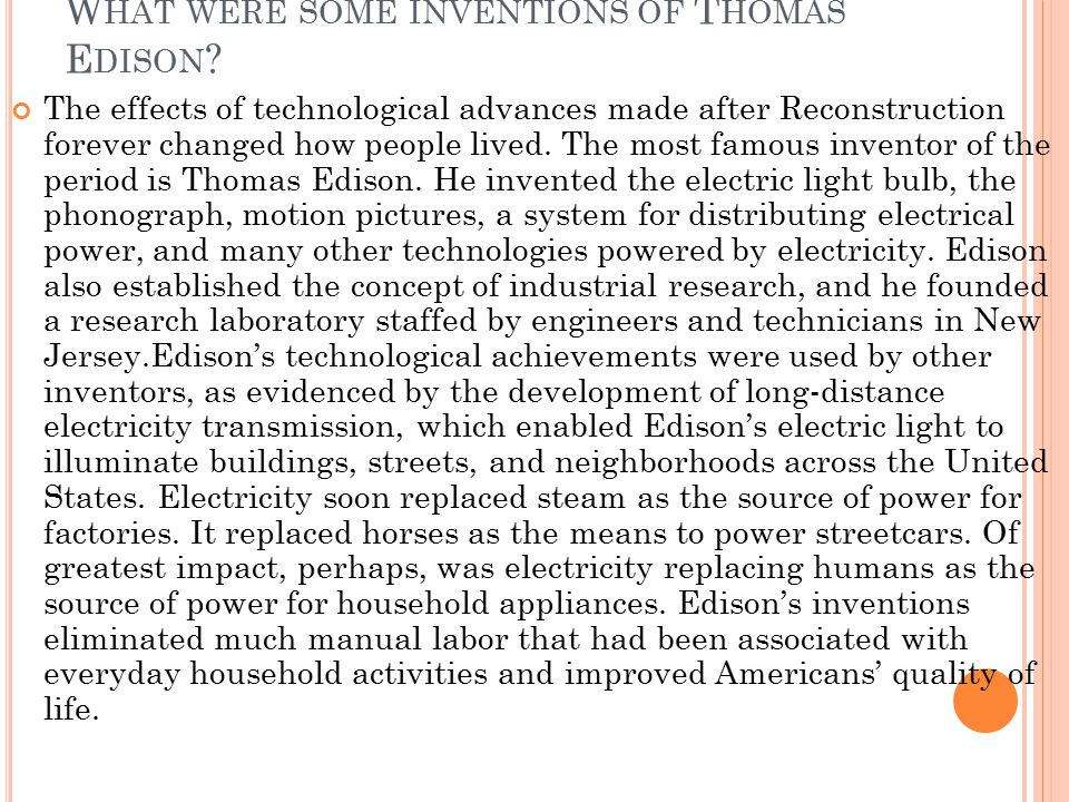 What were some inventions of Thomas Edison