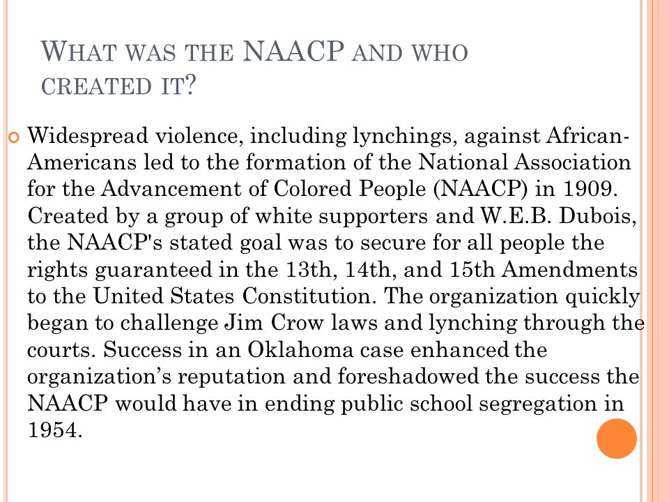 What was the NAACP and who created it