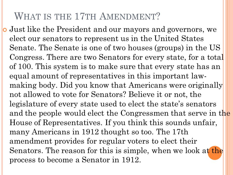 What is the 17th Amendment