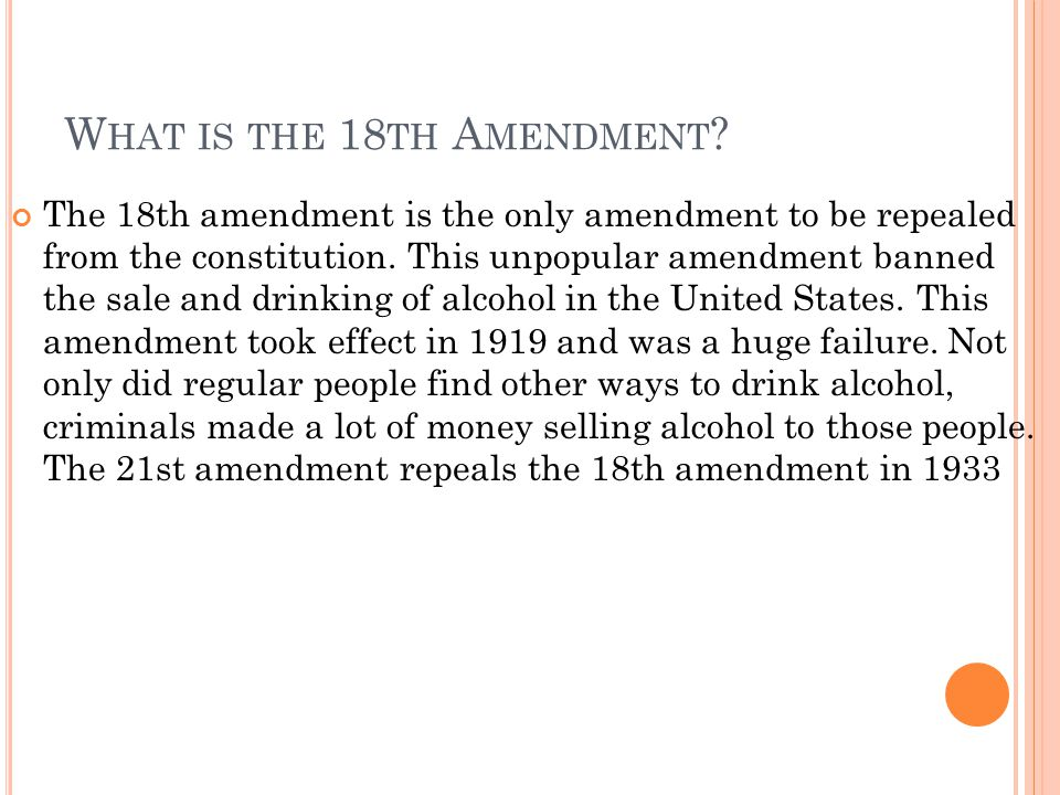 What is the 18th Amendment