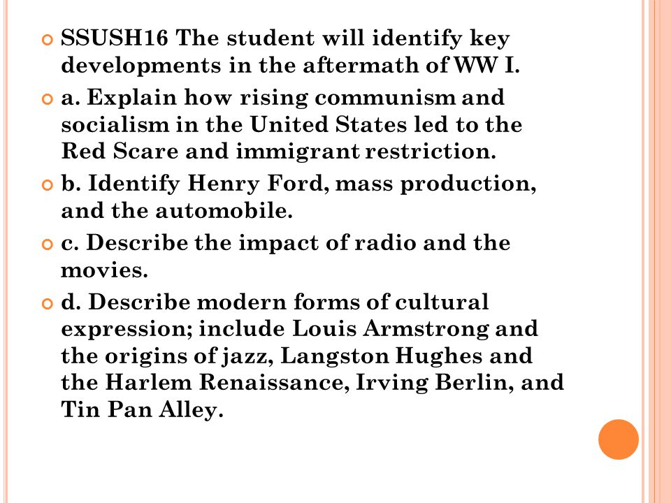 SSUSH16 The student will identify key developments in the aftermath of WW I.