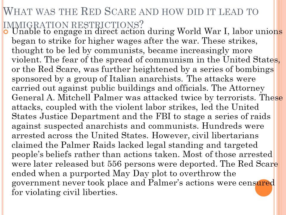 What was the Red Scare and how did it lead to immigration restrictions
