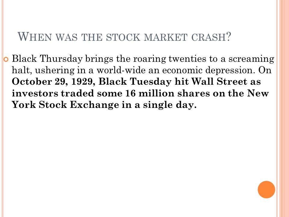 When was the stock market crash