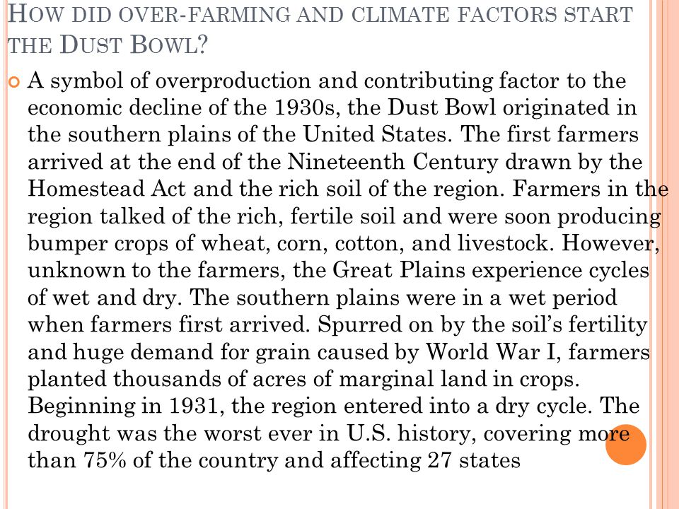 How did over-farming and climate factors start the Dust Bowl